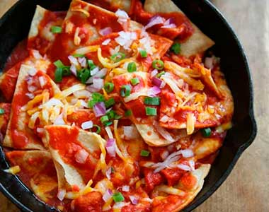 Red chile chilaquiles card